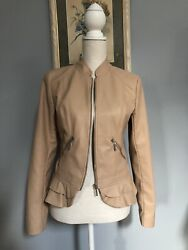 Guess Tan Faux Leather Jacket Women's Small With Peplum $65.00