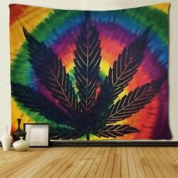 USA Stock Sunset Leaf Weed Tapestry Art Wall Hanging Tapestries Bedroom Decor $13.28