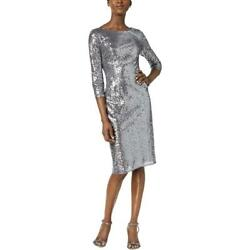 Adrianna Papell Womens Silver Sequined Party Sheath Cocktail Dress 4 BHFO 8919 $13.99