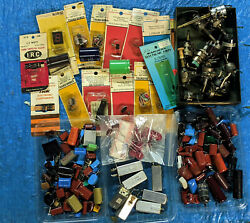 Vintage Parts Lot OLD NEW STOCK CAPACITOR RELAY POTENTIOMETER TRANSISTOR ETC $35.00