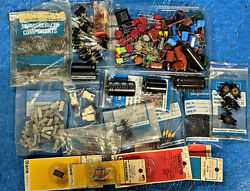 Vintage Parts Lot OLD NEW STOCK CAPACITOR RELAY POTENTIOMETER TRANSISTOR ETC $45.00