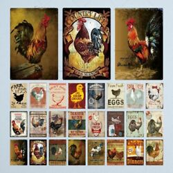 Vintage Farmhouse Tin Metal Sign Farm Rooster Chicken and Eggs Wall Art Decor $9.00