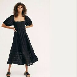 Free People Lets Be Friends Black Summer Midi Beach Party Dress XLarge XL NWT $98.00