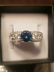 Ring Bomb Party Size 10 RBP 2192 Blue Sapphire Princess Band Blue September NEW $28.00