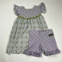 Matilda Jane Girls Dress And Pant Set Multicolor Blue Floral Polka Dot Ruffle 8 $18.99