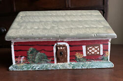 Antique Wooden Jewelry Trinket Box Cottage Hand Painted $22.00