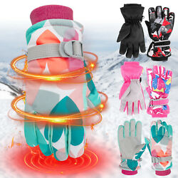 Kids Winter Gloves Waterproof Wind Resistant Thermal Snow Outdoor Mittens Boys $20.96