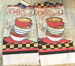 Set of 2 Home Coffee Themed quot;Coffee Timequot; Kitchen Decorative Towels 15 x25 in. $5.89
