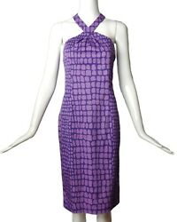 MOSCHINO CHEAP AND CHIC 2015 Purple Cotton Print Dress Size 8 $158.00