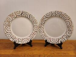 Set of 2 Pier 1 Gold Swirl Holiday Christmas 10 1 4quot; Dinner Plates $19.99