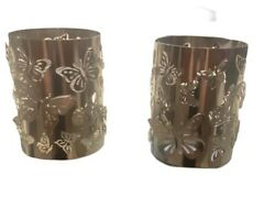 Butterfly Tall Candle Sleeve Candle Holder Chrome Silver NEW $15.99