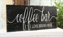 Coffee Wood Sign quot;Coffee Bar Love Brews Herequot; Rustic Home Decor 12quot;x 6quot; $14.99