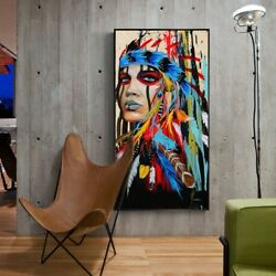 Canvas Art Wall Paintings Watercolor Woman With Feather Posters $12.99