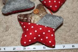 3 COUNTRY RUSTIC CHRISTMAS ORNAMENTS TREE STAR HEART RED GRAY PLAID BUTTONS $21.00
