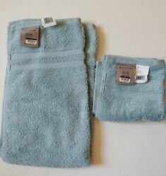 Wamsutta Sky Hand Towel AND Wash Cloth 100% Micro Cotton NEW $9.95