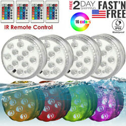 4 Underwater Submersible LED Lights RGB Color Changing Remote Control Waterproof $13.75