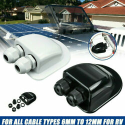 Roof Solar Panel Double Cable Entry Gland Box Connector Motorhome Boat RV Black $9.78
