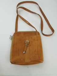 Vintage Leather Tooled Crossbody Bag Purse Satchel Western Made in Paraguay $24.99