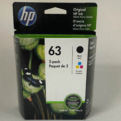 HP 63 Black Color Ink Cartridges Combo 2 Pack New Genuine F6U62A F6U61A