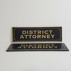 Pair of District Attorney Plaques Wall Office Desk Prop $19.99