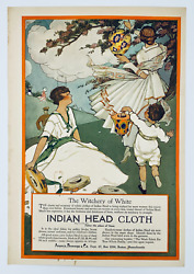 1916 Indian Head Cloth Ad: Japanese Lanterns Witchery of White Fashion Plate $15.99