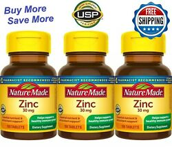 Nature Made Zinc 30mg 300 Tablets 3pc x100 tablets Immune Support $14.99