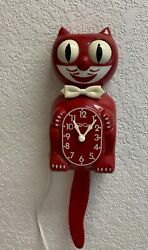 Restored shiny red vintage electric kit cat klock kat clock D8  $200.00