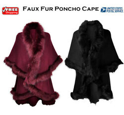 Women Knit Faux Fur Poncho Trimmed Shawl Cape Cardigan Sweater Jacket Scarf $29.99
