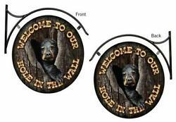 Hole in the Wall Bear Cub Hanging Tin Signs by Jon Ren $120.00