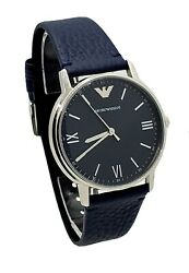 Emporio Armani Mens AR11012 Stainless Steel Case Navy Leather Strap Watch $84.99
