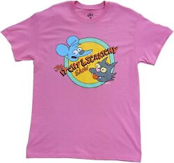 Men#x27;s The Simpsons Itchy amp; Scratchy Show Pink Retro Vintage Cartoon T Shirt Tee $15.99