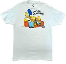 Men#x27;s The Simpsons White Family Couch Retro Vintage Cartoon T Shirt New Tee $15.99