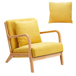 Esright Mid Century Accent Chair Wooden Modern Living Room Fabric Arm Chair $129.99