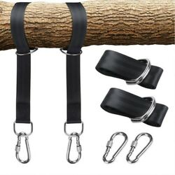 Tree Swing Hanging Kit Straps Hold 5000 LBS Extra Long 5ft Tire Rope Carabiner $15.99