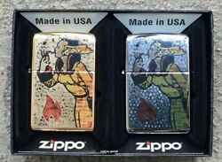 Zippo Windproof Set Of 2 Fusion Windy Lighters Chrome amp; Brass New In Box $48.42