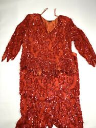 Vintage Red Linsiano Sequin Beaded Silk Dress 2 Piece Skirt Set XL $69.99