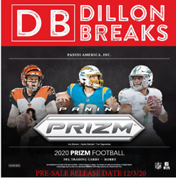 2020 PANINI PRIZM FOOTBALL HOBBY BOX BREAK 1 box of 12 of a case. B#00109 $30.00
