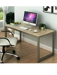 SHW Home Office 55 Inch Large Computer Desk Silver Frame W Grey Top $119.99
