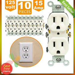 10 Pack Outlet Receptacle 125 Volt 15 Amp Duplex Residential Dual Electrical Wal