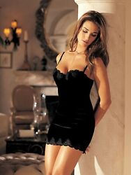Shirley of Hollywood Women Size M Black Stretch Velvet Chemise Designer Dresses