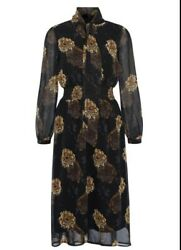 ex display Ted Baker tie neck floral summer midi dress Size 12 Brand New GBP 44.99