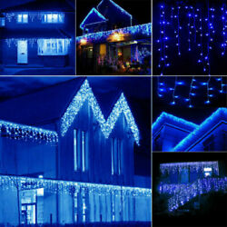 13FT LED Fairy String Icicle Curtain Droop Lights 96 LED Home Xmas Decor Outdoor
