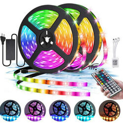 16ft 32ft RGB 5050 Flexible LED Strip Light 44 Key Remote DC 12V US Power Supply