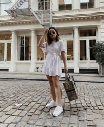 Urban Outfitters Linen Ruffle Tie White Dress size Small $28.00