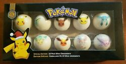 Official Pokemon Special Edition 10 Pack Mini Christmas Tree Ornaments RARE $40.00