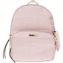 Juicy Couture Womens Word Play Pink Faux Leather Logo Backpack Medium BHFO 8137 $29.99