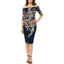 Xscape Womens Navy Lace Floral Party Cocktail Dress 10 BHFO 5402 $21.99