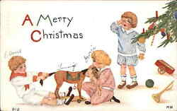 Christmas Kids Fight Over New Horse Toy c1910 Postcard $6.89