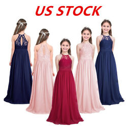 US Girls Lace Princess Dress Pageant Gown Wedding Bridesmaid Party Formal Maxi $18.35
