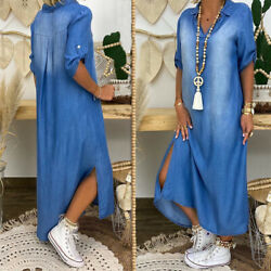 Plus Size Womens Casual Denim Long Maxi Dress Ladies Summer Loose Jeans Sundress $22.99